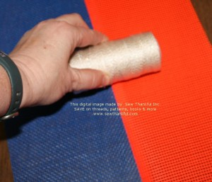 finger press seam so that seam allowance will point away from center of bag