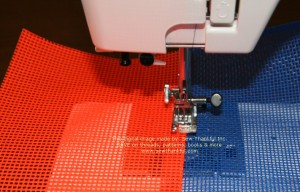 """Topstitch approximately 1/8"""" from seam line, making sure seam allowance points away from bag center"""