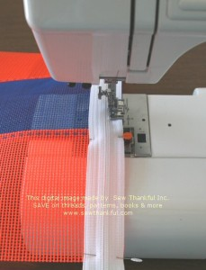 Stitch slowly and remove pins as you approach them