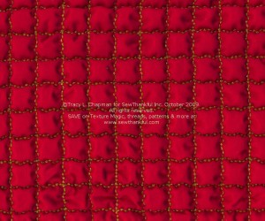Red Kona Cotton stitched with Razzle Dazzle Thread, Texture Magic applied and steamed.