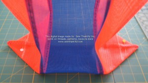 Both sides of bag bottom marked and pinned.