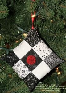 Black & White Nine Patch with Red Yo-Yo Embellishment