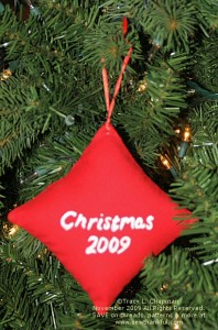 Back Side of the Texture Magic/Razzle Dazzle Ornament.  Tsukineko Ink was used to write Christmas 2009.